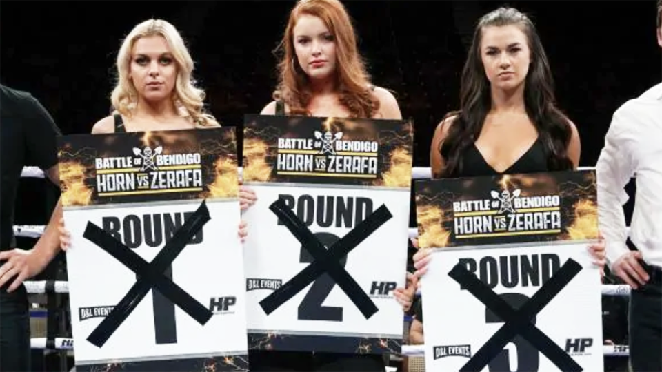 The ring girls, pictured here before the Jeff Horn-Michael Zerafa card.