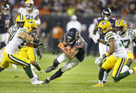 Allen Robinson #12 of the Chicago Bears runs with the ball during the game against the Green Bay Packers at Soldier Field on September 05, 2019 in Chicago, Illinois. (Photo by Nuccio DiNuzzo/Getty Images)