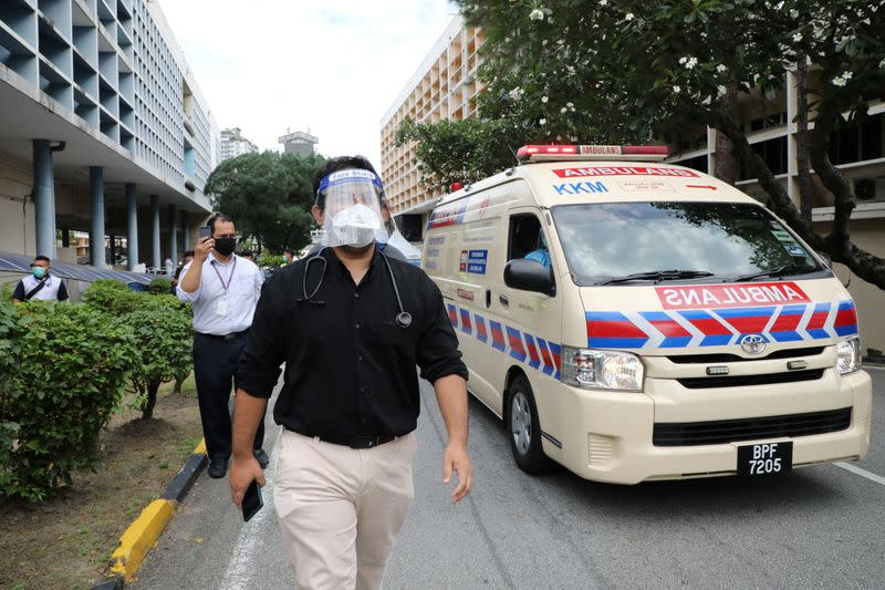 A government medical contract doctor participates in a walkout strike at Kuala Lumpur Hospital amid the coronavirus disease (COVID-19) outbreak in Kuala Lumpur