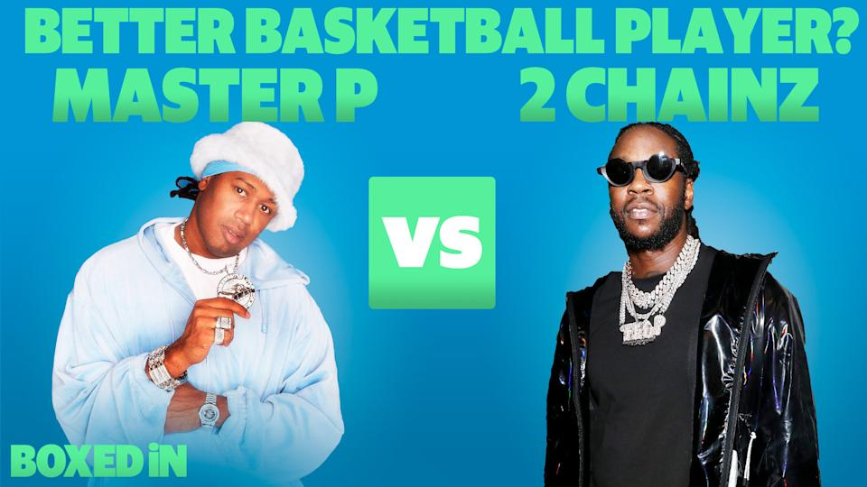 Chris Haynes, LaJethro Jenkins and Zach Scwhartz debate which rapper had the better basketball career: Master P or 2 Chainz? (Getty Images/Yahoo Sports)