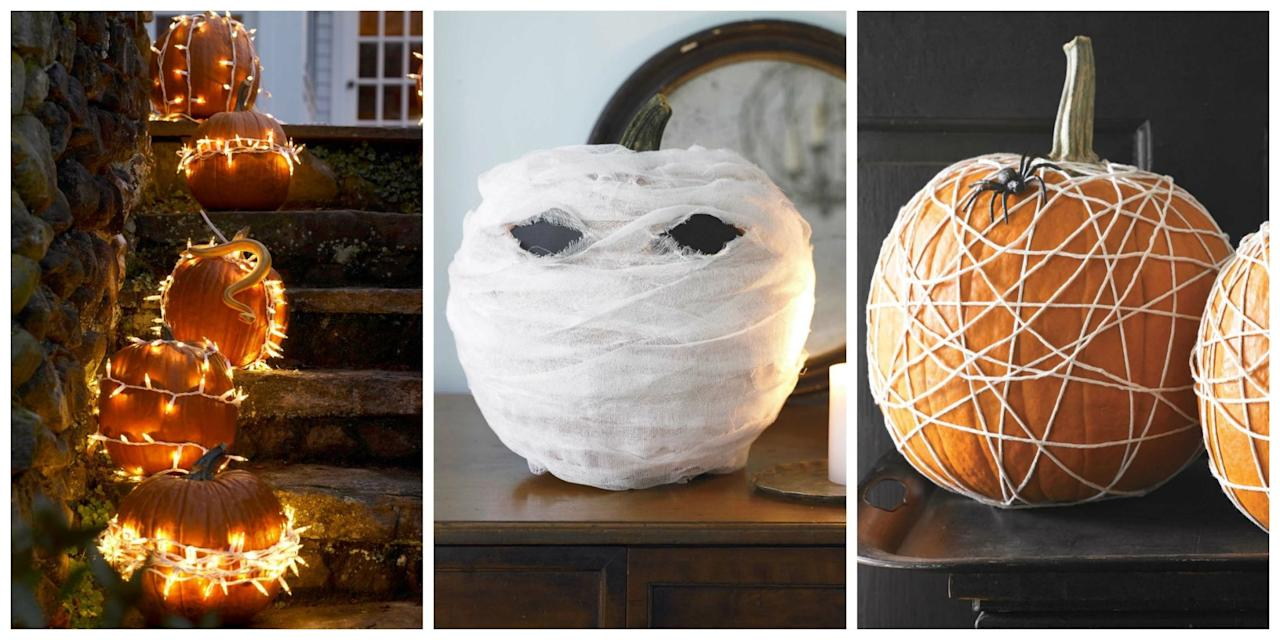 16 insanely easy no carve pumpkin ideas for Creative halloween pumpkin decorating ideas