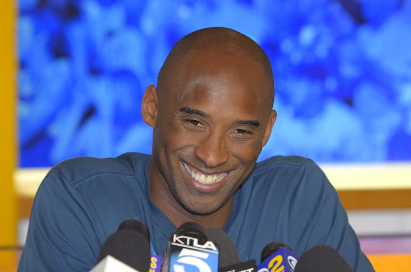Kobe Bryant speaks during a news conference at the Kobe Basketball Academy for boys and girls, Wednesday, July 9, 2014, in Santa Barbara, Calif