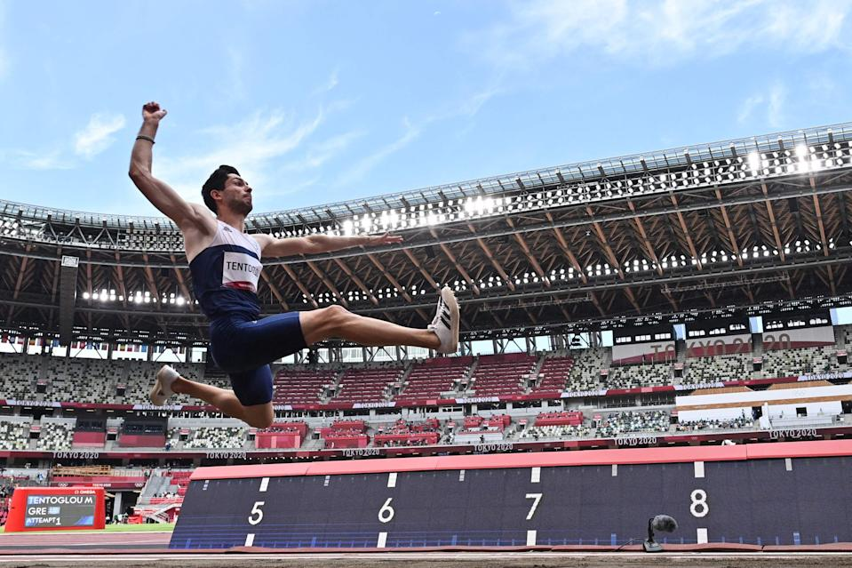 Greece's Miltiadis Tentoglou won gold in the men's long jump in Tokyo (AFP via Getty Images)