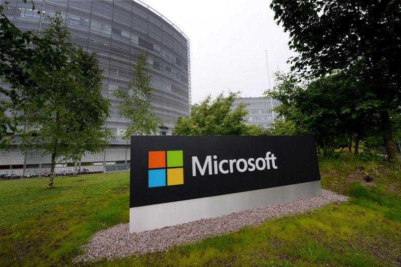 Microsoft sign is pictured at its Finnish headquarters in Espoo