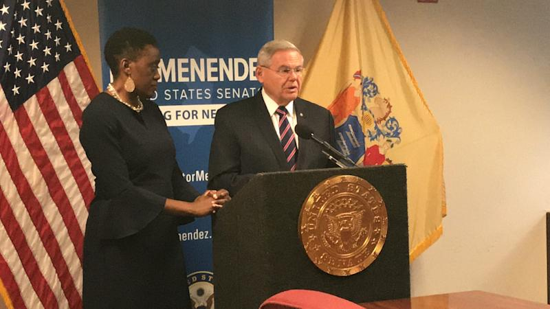Opeyemi Sowore, the wife of Omoyele Sowore and U.S. Sen. Bob Menendez speak about the re-arrest of her husband in Nigeria by police at a press conference on Dec. 6 in Menendez's Newark office.