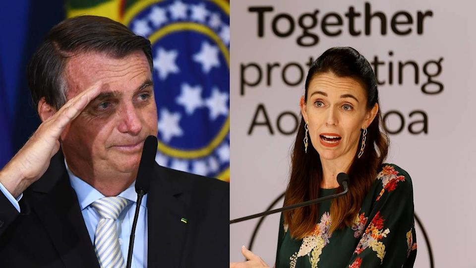 Presidente do Brasil, Jair Bolsonaro, e primeira-ministra da Nova Zelândia, Jacinda Ardern (Foto: EVARISTO SA/AFP via Getty Images/MARTY MELVILLE/AFP via Getty Images)