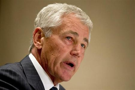 U.S. Secretary of Defense Chuck Hagel speaks to the media about the U.S. government shutdown, at his hotel in Seoul