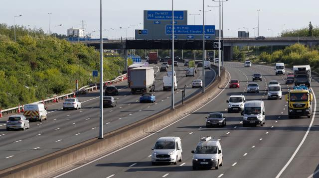 Traffic on the M25 during the morning rush hour on Monday after Boris Johnson announced a phased plan to ease a nationwide coronavirus lockdown. (Adrian Dennis/AFP)