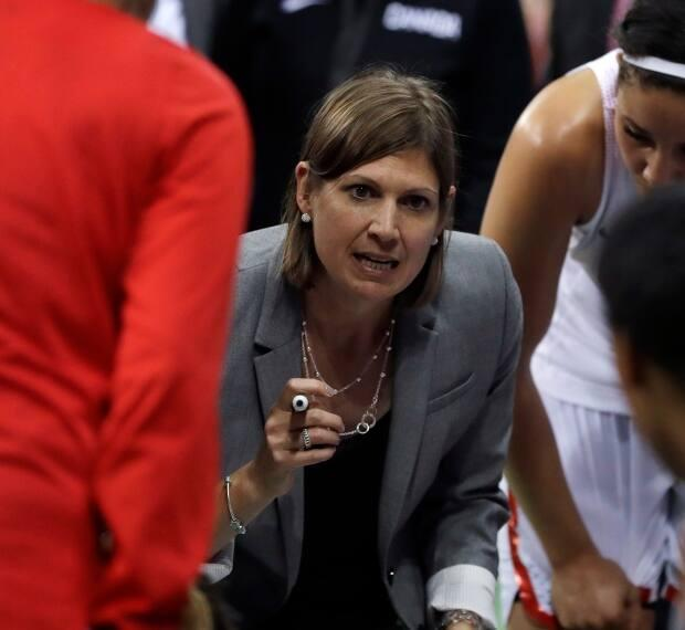 Canada head coach Lisa Thomaidis talks to the team during the second half of a women's basketball game against Serbia at the Youth Center at the 2016 Summer Olympics in Rio de Janeiro, Brazil, Monday, Aug. 8, 2016. Canada defeated Serbia 71-67. AP Photo/Carlos Osorio) (The Associated Press - image credit)