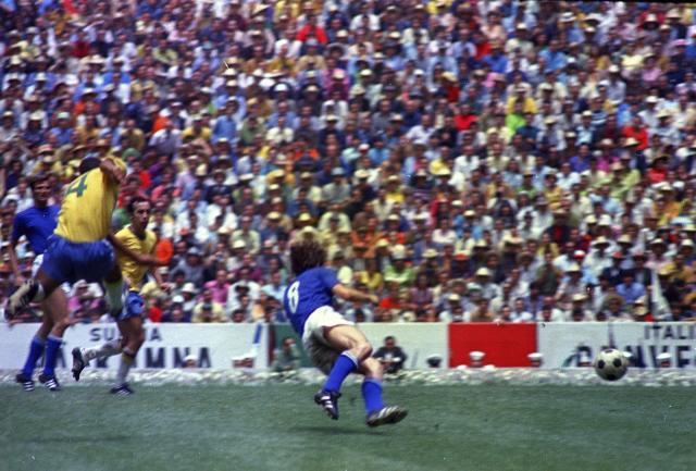 FILE - In this June 21, 1970 file photo, Brazil's captain Carlos Alberto scores his team's fourth goal against Italy in the World Cup Final, at the Aztec Stadium, in Mexico City. The goal culminated a thrilling move by Brazil, which won the World Cup for the third time after beating Italy 4-1 victory. The 21st World Cup begins on Thursday, June 14, 2018, when host Russia takes on Saudi Arabia. (AP Photo, file)