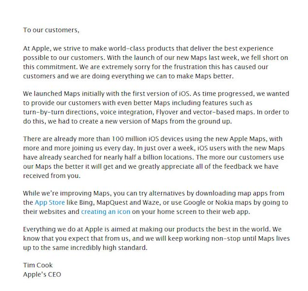 Apple CEO Tim Cook's apology for Maps