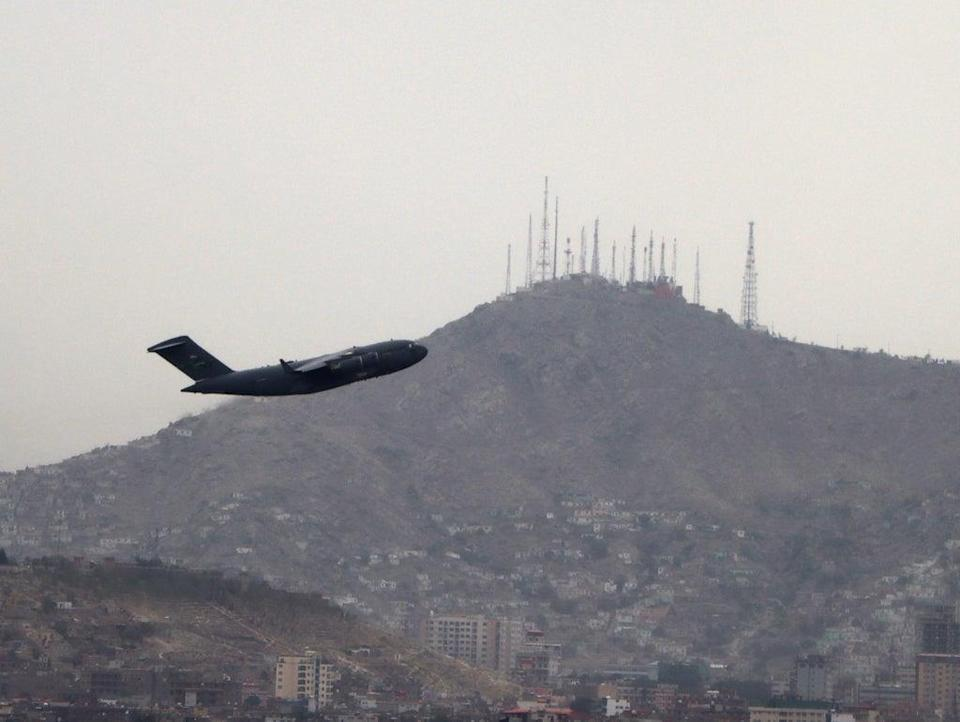 File: A military aircraft takes off at the Hamid Karzai International Airport in Kabul, Afghanistan (EPA)