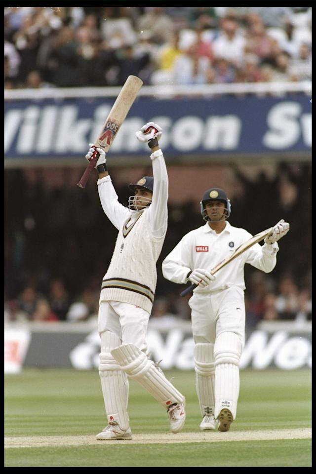 20-4 Jun 1996:  Sourav Ganguly of India a debut century during the second test match between England and India at Lords, London. Mandatory Credit: Graham Chadwick/Allsport UK