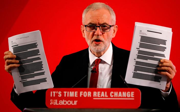 Jeremy Corbyn brandished the documents during last year's General Election campaign - AFP