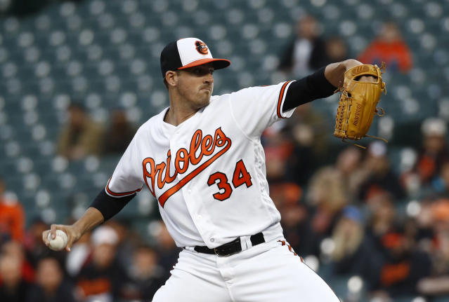 Baltimore Orioles starting pitcher Kevin Gausman throws to the Toronto Blue Jays in the first inning of a baseball game, Wednesday, April 11, 2018, in Baltimore. (AP Photo/Patrick Semansky)