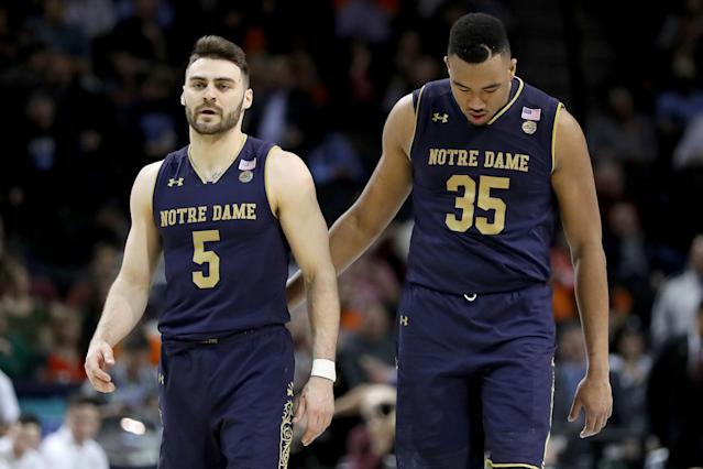 With seniors Matt Farrell (left) and Bonzie Colson (right) healthy, Notre Dame has a legitimate case for making the NCAA tournament. (Photo by Abbie Parr/Getty Images)