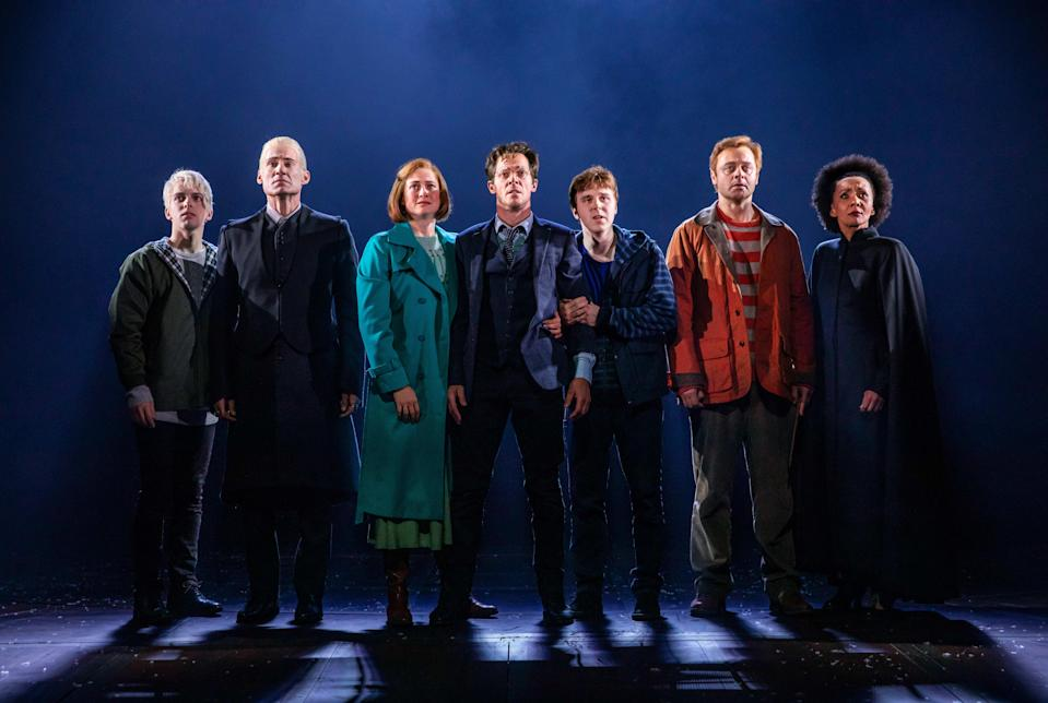 William McKenna as Scorpius Malfoy, Tom Wren as Draco Malfoy, Lucy Goleby as Ginny Potter, Gareth Reeves as Harry Potter, Sean Rees-Wemyss as Albus Potter, Gyton Grantley as Ron Weasley and Paula Arundell as Hermione Granger. (PHOTO: Matt Murphy)