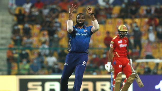 Kieron Pollard of Mumbai Indians celebrates the wicket of KL Rahul captain of Punjab Kings during match 42 of the Vivo Indian Premier League between the Mumbai Indians and the Punjab Kings held at the Sheikh Zayed Stadium, Abu Dhabi in the United Arab Emirates on the 28th September 2021 Photo by Vipin Pawar / Sportzpics for IPL