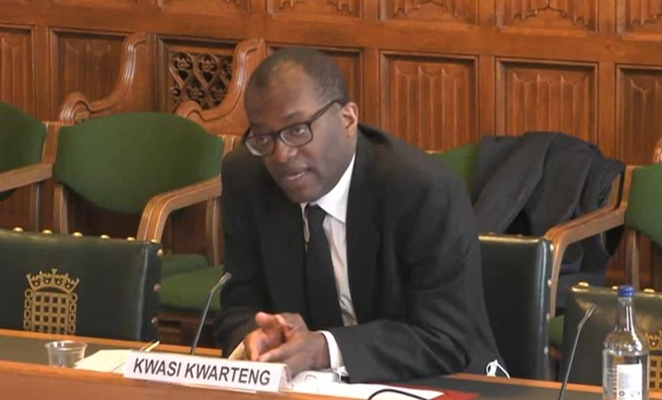 Business Secretary Kwasi Kwarteng giving evidence to the Business, Energy and Industrial Strategy Committee in the House of Commons, where he warned there is a danger Liberty Steel could be forced to close some of its UK plants following the collapse of its main financial backer. Picture date: Tuesday April 13, 2021. (Photo by House of Commons/PA Images via Getty Images)