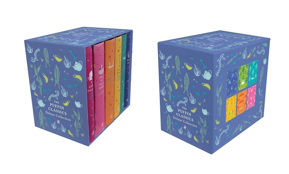 "<p>This set of <a rel=""nofollow noopener"" href=""https://www.popsugar.com/buy/Puffin%20Hardcover%20Classics%20Box%20Set-366008?p_name=Puffin%20Hardcover%20Classics%20Box%20Set&retailer=amazon.com&price=72&evar1=moms%3Aus&evar9=45382611&evar98=https%3A%2F%2Fwww.popsugar.com%2Fmoms%2Fphoto-gallery%2F45382611%2Fimage%2F45382637%2FPuffin-Hardcover-Classics-Box-Set&prop13=desktop&pdata=1"" target=""_blank"" data-ylk=""slk:Puffin Hardcover Classics Box Set"" class=""link rapid-noclick-resp"">Puffin Hardcover Classics Box Set</a> ($72, originally $105) will add some color-coordinated goodness to their bookshelves (not to mention, everyone should read the classics at some point!).</p>"
