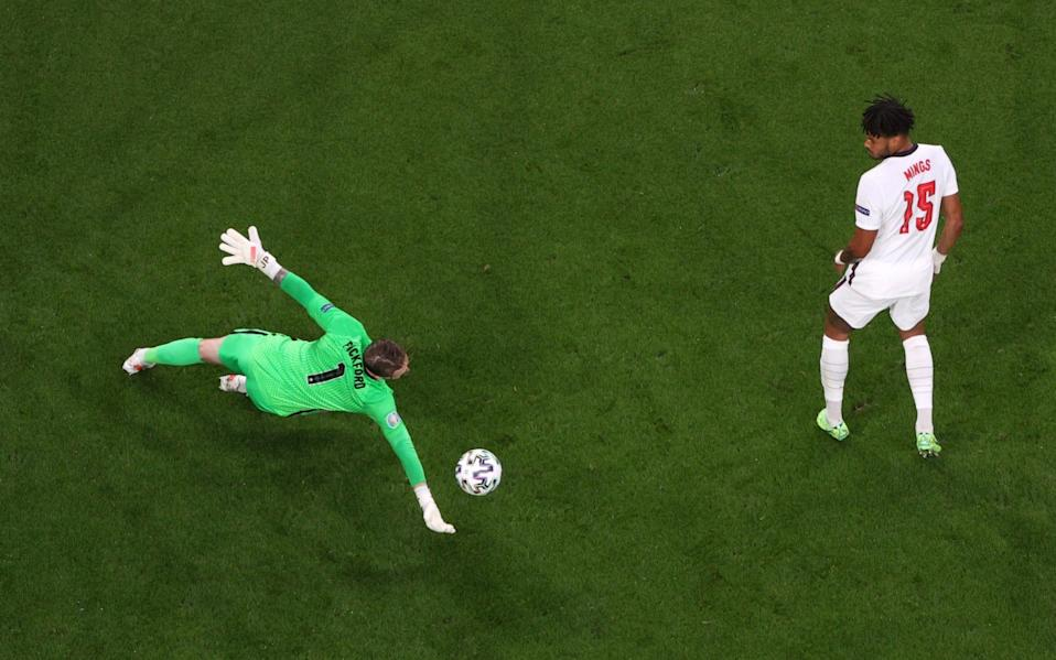 Jordan Pickford of England makes a save from a shot from Stephen O'Donnell - Laurence Griffiths/Getty Images