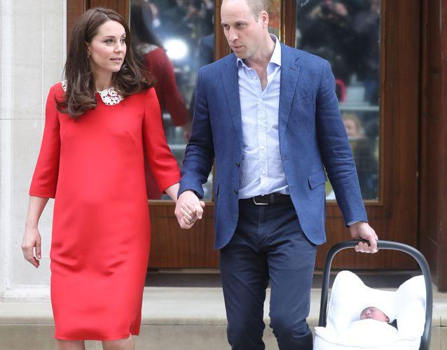 The parents left the hospital just seven hours after Kate gave birth. Source: Getty Images