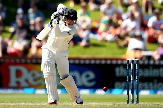 WELLINGTON, NEW ZEALAND - FEBRUARY 16: Tom Latham of New Zealand bats during day three of the 2nd Test match between New Zealand and India at the Basin Reserve on February 16, 2014 in Wellington, New Zealand. (Photo by Phil Walter/Getty Images)