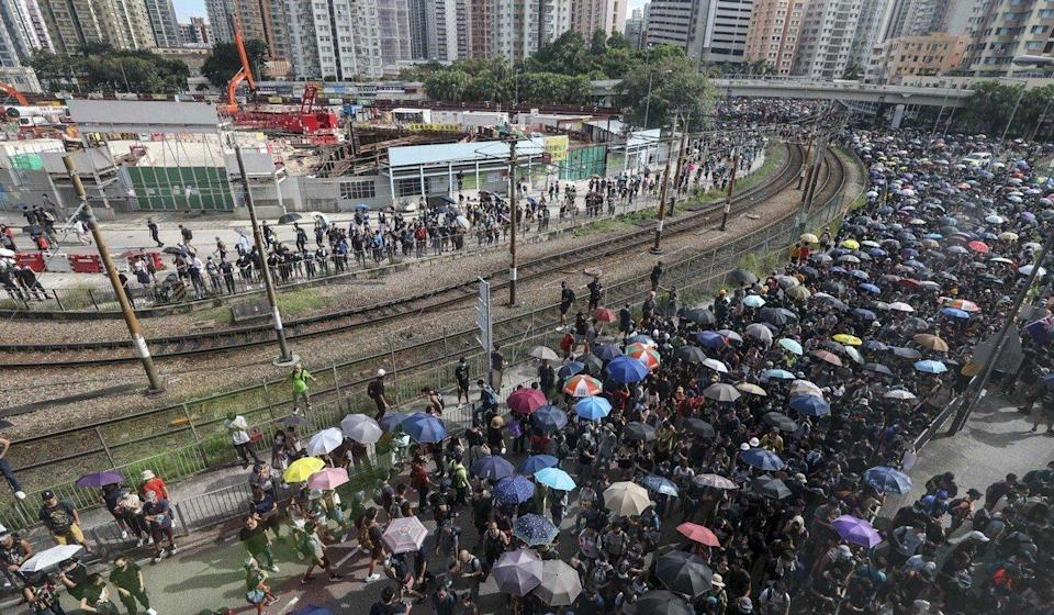 Extradition bill protesters gather in Yuen Long on July 27, 2019, despite police rejecting their application to hold a march. Photo: Xiaomei Chen
