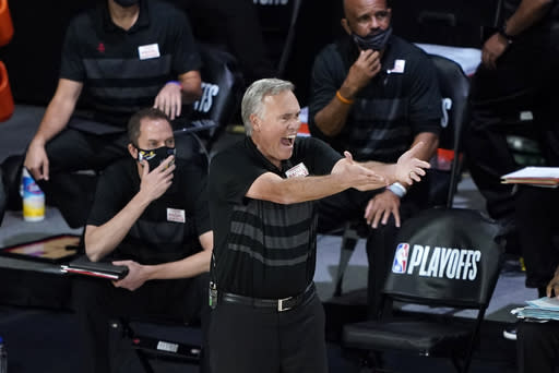 Houston Rockets head coach Mike D'Antoni yells at the officials during the second half of an NBA basketball first round playoff game against the Oklahoma City Thunder Saturday, Aug. 29, 2020, in Lake Buena Vista, Fla. (AP Photo/Ashley Landis)