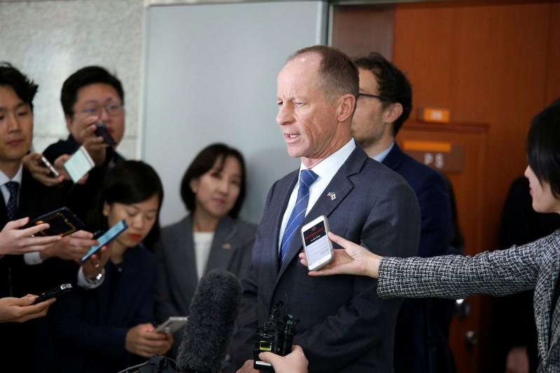 David Stilwell, U.S. Assistant Secretary for East Asian and Pacific Affairs, answers reporters' questions after a meeting with his South Korean counterpart Cho Sei-young at the Foreign Ministry in Seoul