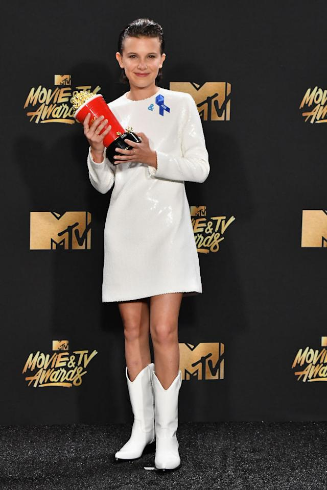 <p>Millie Bobby Brown was so retro and adorable in Calvin Klein. The eco-centric fashion plate wore black and silver and stunned as always. (Photo: Getty Images) </p>