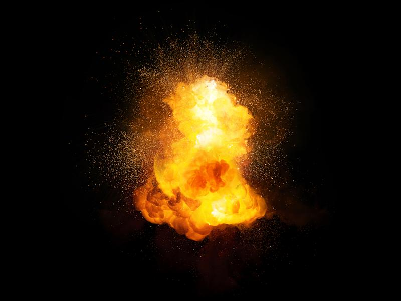 A fiery explosion against a black background.