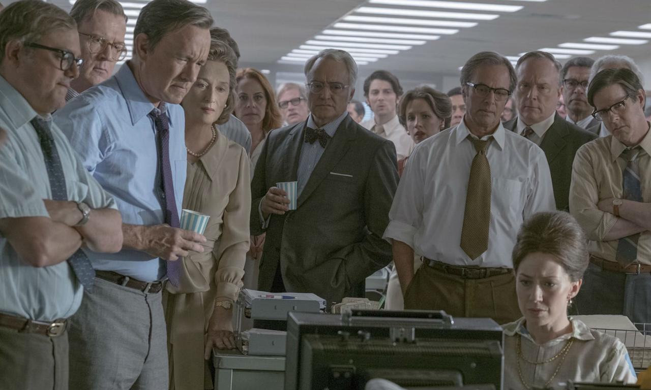 <p>Steven Spielberg's latest drama centres on The Washington Post's involvement in the publication of the Pentagon Papers and the female publisher who made it happen. Meryl Streep plays Kay Graham, the country's first female newspaper publisher, Tom Hanks as Post editor-in-chief Ben Bradlee Sr, and they both prove once again why they're acting legends. </p>