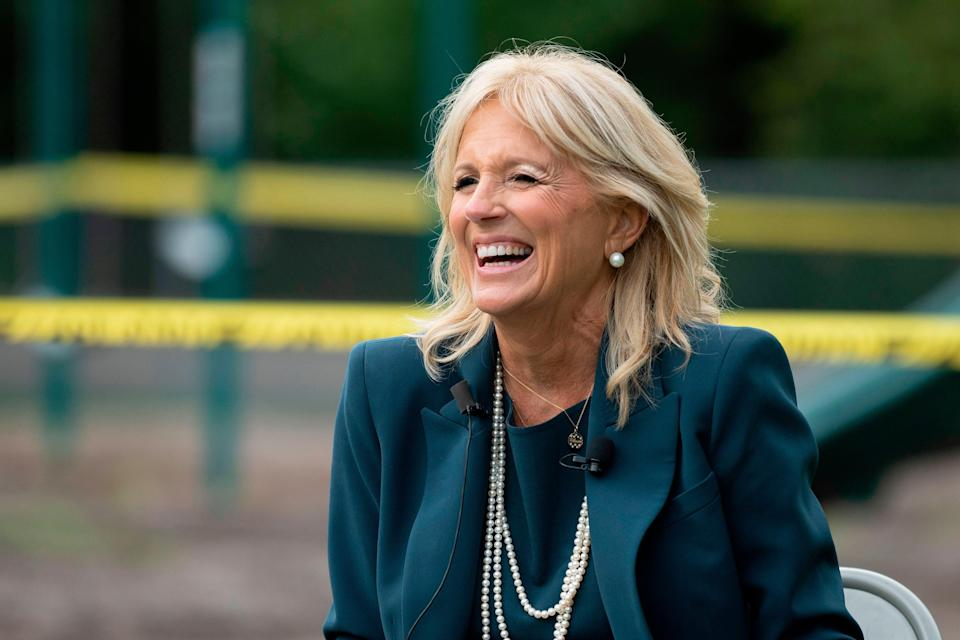 File photo: Jill Biden, the wife of Democratic presidential candidate Joe Biden, speaks during a Back to School Tour at Shortlidge Academy in Wilmington, Delaware, on 1 September, 2020 (AFP via Getty Images)