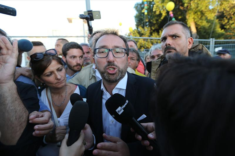 NAPOLI, ITALY - 2019/10/12: The politician Alfonso Bonafede, of the 5 Star Movement, talking with journalists before the 5 Star Italy event. (Photo by Marco Cantile/LightRocket via Getty Images)