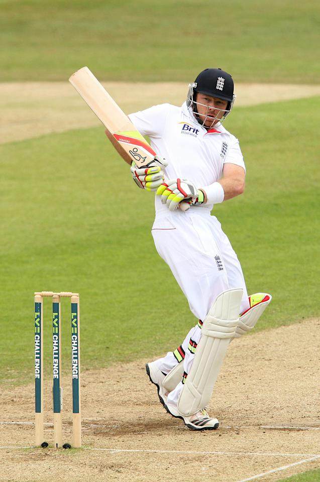 England's Ian Bell bats during day four of the International Tour match at The County Ground, Chelmsford.