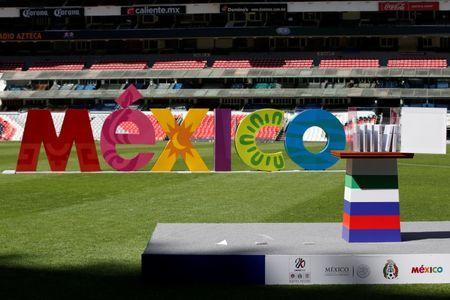 The government guarantees for the tri-nation North American bid to host the 2026 World Cup are seen during a presentation at Azteca stadium in Mexico City, Mexico February 16, 2018. REUTERS/Carlos Jasso