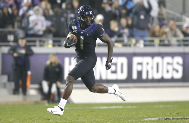 TCU wide receiver Jalen Reagor returns a punt for a touchdown against West Virginia on Nov. 29, 2019 in Fort Worth, Texas. (Photo by Ron Jenkins/Getty Images)