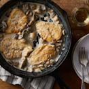 """<p>A rich and creamy sauce coats chicken breasts in this quick and comforting dinner. If you don't have chicken cutlets (thin-sliced boneless chicken breast) on hand, you can make your own by slicing two 8-ounce chicken breasts in half horizontally. <a href=""""http://www.eatingwell.com/recipe/262253/creamy-parmesan-garlic-mushroom-chicken/"""" rel=""""nofollow noopener"""" target=""""_blank"""" data-ylk=""""slk:View recipe"""" class=""""link rapid-noclick-resp""""> View recipe </a></p>"""