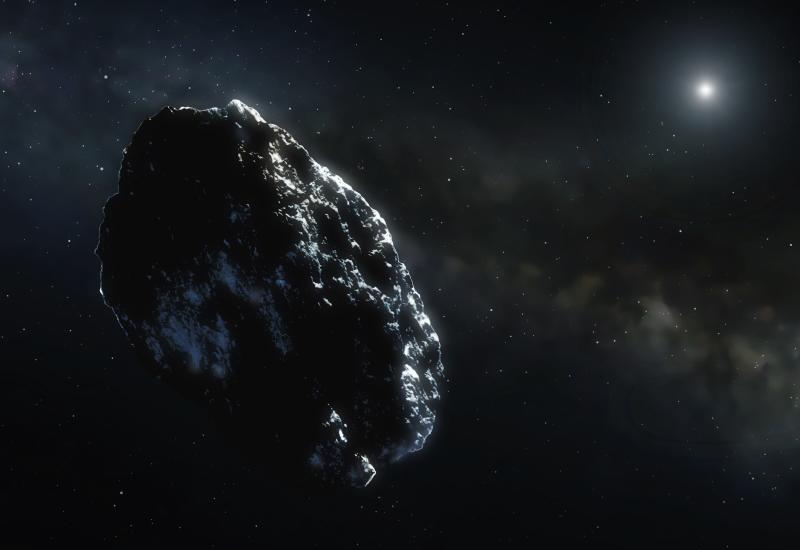 Illustration of an asteroid. Even in the main belt the asteroid density is very low. On average, distances of millions of miles separate even the closest members. Most of them, as this artist's impression shows, are lone wanderers.