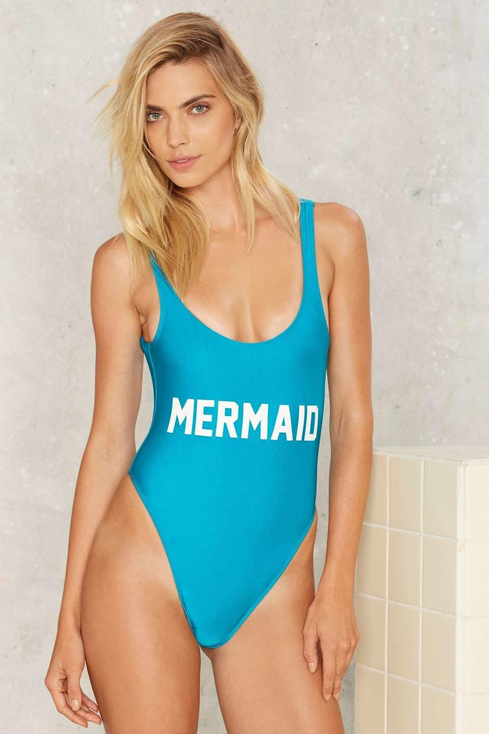 """Private Party Mermaid Swimsuit, $99, <a href=""""http://www.nastygal.com/product/private-party-mermaid-swimsuit"""" target=""""_blank"""">Nasty Gal</a>"""