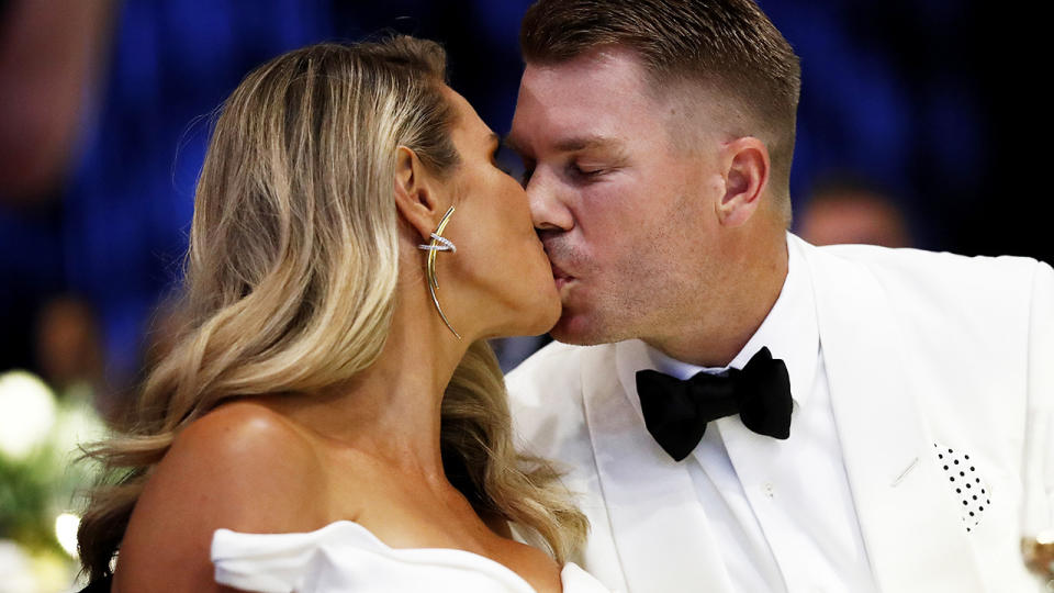 David and Candice Warner, pictured here after he was named Allan Border Medallist.