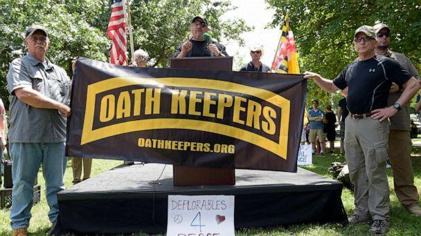 PHOTO: Stewart Rhodes, founder of the citizen militia group known as the Oath Keepers, center, speaks during a rally outside the White House in Washington, June 25, 2017. (Susan Walsh/AP, FILE)