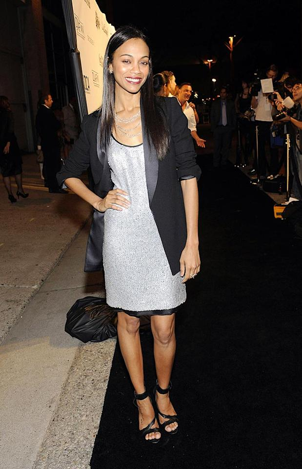"""Star Trek's"" Zoe Saldana shimmered in a silver mini and matching strands. Arun Nevader/<a href=""http://www.wireimage.com"" target=""new"">WireImage.com</a> - March 19, 2009"