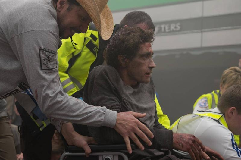 Gyllenhaal as Jeff Bauman, the Boston bombing double-amputee, in one of the pivotal scenes of 'Stronger'