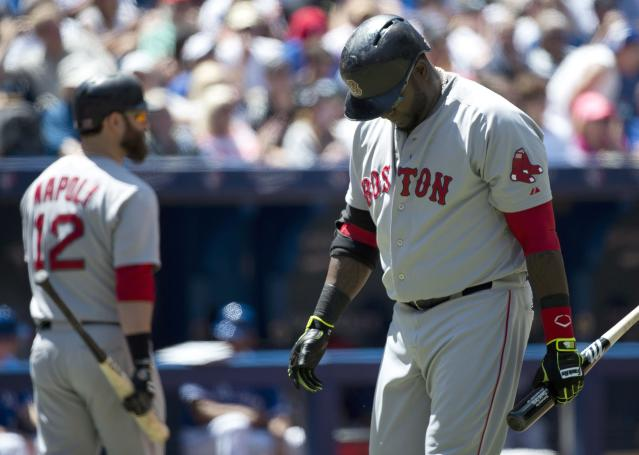 Boston Red Sox designated hitter David Ortiz, right, looks down and makes his way back to the dugout after striking out against the Toronto Blue Jays during fourth inning baseball action in Toronto on Thursday, July 24, 2014. (AP Photo/The Canadian Press, Nathan Denette)