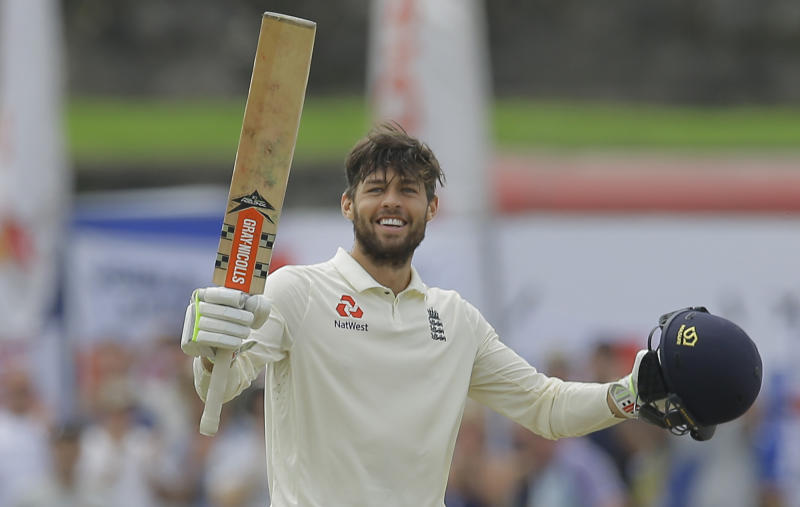 England's Ben Foakes celebrates scoring a century during the second day of the first test cricket match between Sri Lanka and England in Galle, Sri Lanka, Wednesday, Nov. 7, 2018. (AP Photo/Eranga Jayawardena)