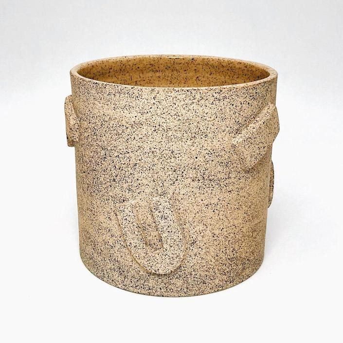 """Name a plant that wouldn't take to a charming speckled finish and raised geometric shapes. $80, Ethel's Club. <a href=""""https://shop.ethelsclub.com/product/not-work-related-medium-planter/23?cp=true&sa=true&sbp=false&q=false"""" rel=""""nofollow noopener"""" target=""""_blank"""" data-ylk=""""slk:Get it now!"""" class=""""link rapid-noclick-resp"""">Get it now!</a>"""