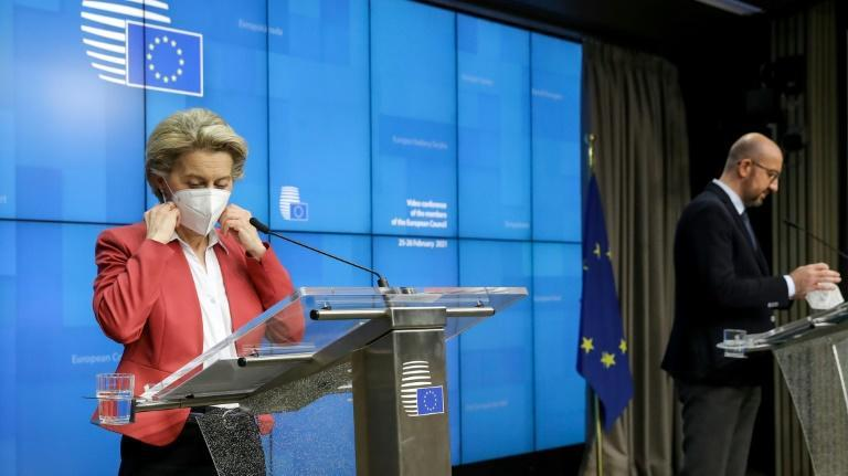 Von der Leyen says that while the EU is honouring an agreement to export the vaccine to the UK, the UK is not reciprocating