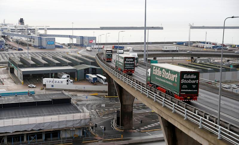 """Lorries arrive to the Port of Dover during a trial of how road will cope in case of a """"no-deal"""" Brexit, Kent, Britain January 7, 2019. REUTERS/Peter Nicholls"""
